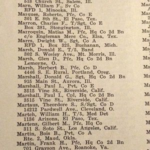 Marshall Donald G - 129th Inf Regt Roster