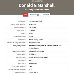 Marshall Donald G - WWII Army Enlistment Record